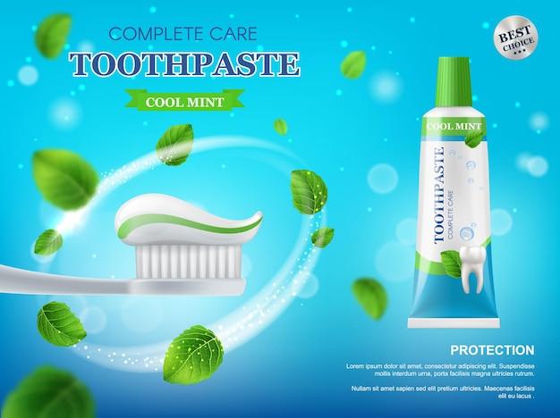 Poster promozionale di dentifricio, spazzolino da denti e foglie di menta