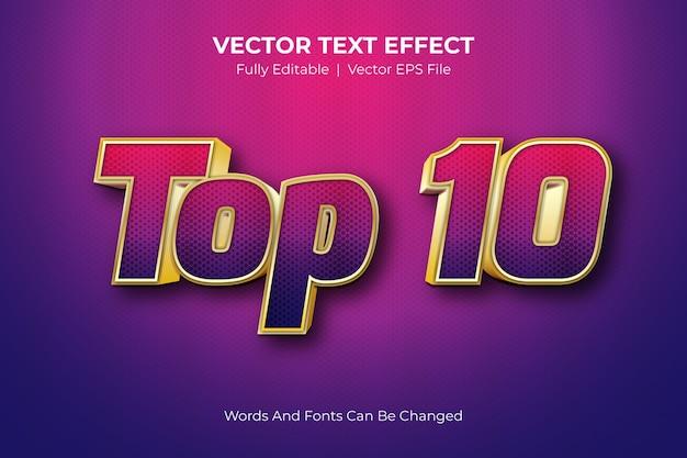 Top 10 testo modificabile