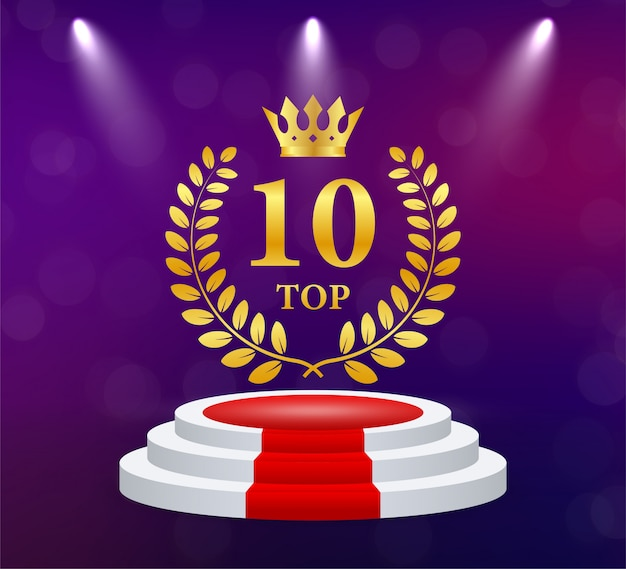 Top 10. corona d'alloro dorata. premio per la vittoria. coppa del trofeo. illustrazione.