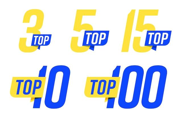 Set di banner top per la compilazione o la categoria della valutazione del leader della classifica.
