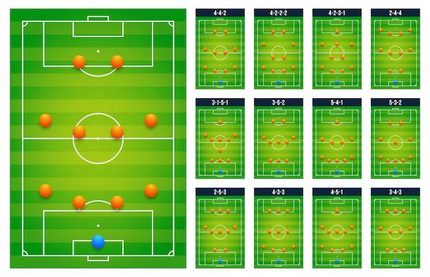 La migliore tavola popolare di tattica dei campi verdi di calcio di calcio migliore per i giocatori dell'allenatore, concetto stabilito della partita. pianificazione del prossimo gioco di schemi. illustrazione piatta moderna