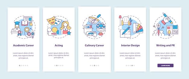 Le migliori carriere per pensatori creativi che si avvicinano alla schermata della pagina dell'app mobile con concetti