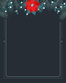 Bordo della cornice superiore della composizione floreale di natale con vischio stella di natale di pino vector