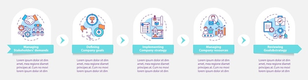 Modello di infografica di attività di gestione superiore. definizione degli elementi di design della presentazione degli obiettivi aziendali. visualizzazione dei dati con 5 passaggi. elaborare il grafico della sequenza temporale. layout del flusso di lavoro con icone lineari