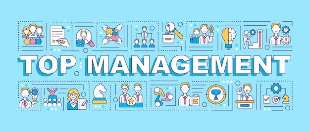 Banner di concetti di parola di top management Vettore Premium