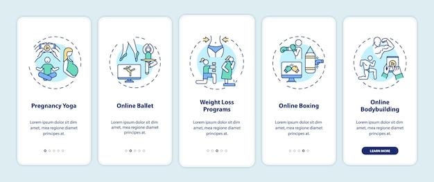 I migliori programmi di allenamento online che integrano la schermata della pagina dell'app mobile con concetti. yoga in gravidanza, soluzione per la perdita di peso modello di interfaccia utente in 5 passaggi con illustrazioni a colori rgb