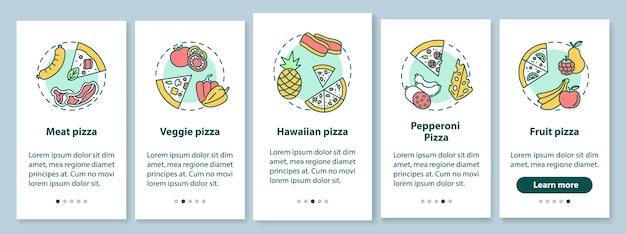 I migliori tipi di pizza onboarding schermata della pagina dell'app mobile con concetti
