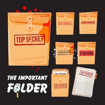 Cartella top secret e set di carta