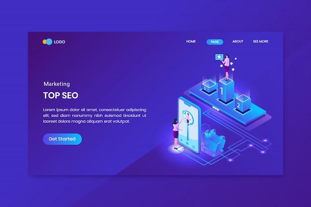 Pagina di destinazione del concetto isometrico di marketing di seo top
