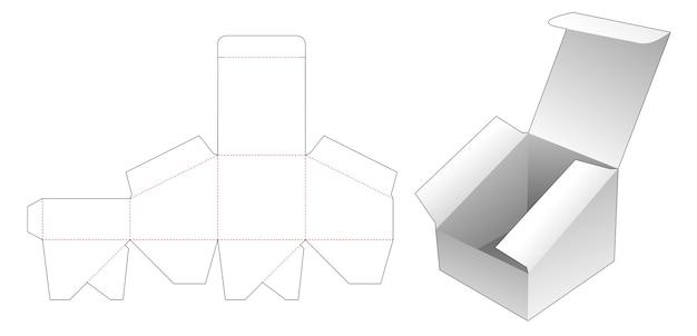 Modello fustellato per scatola corta con pendenza superiore