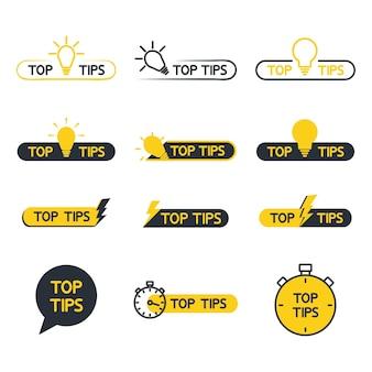 Suggerimenti utili suggerimenti utili suggerimenti per il sito web set di suggerimenti soluzione migliore suggerimento