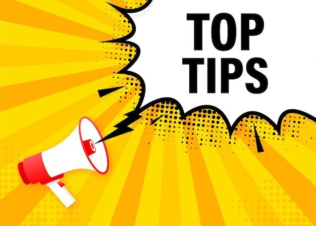 Top suggerimenti megafono banner giallo in stile piatto. illustrazione.