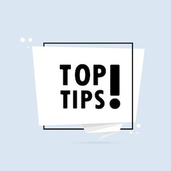 Migliori suggerimenti. insegna del fumetto di stile di origami. modello di disegno adesivo con testo top tips. vettore env 10. isolato su priorità bassa bianca.