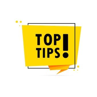 Migliori suggerimenti. insegna del fumetto di stile di origami. modello di design adesivo con testo dei migliori suggerimenti. vettore env 10. isolato su priorità bassa bianca.