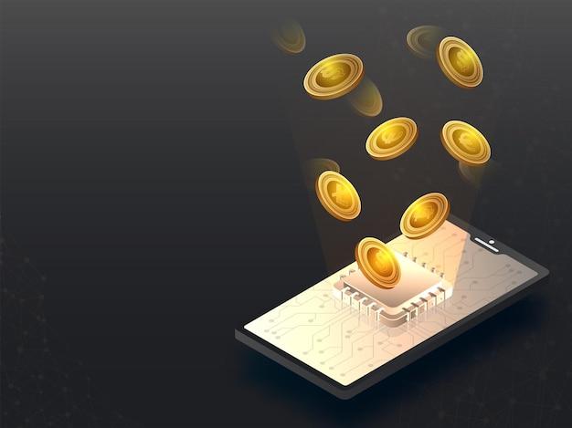 Vista dall'alto di monete d'oro 3d che escono dal chip del circuito sullo schermo dello smartphone.