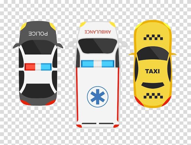 Vista dall'alto di auto ambulanza, polizia e taxi. modello di auto dei cartoni animati. impostare le icone di trasporto isolate su sfondo trasparente.
