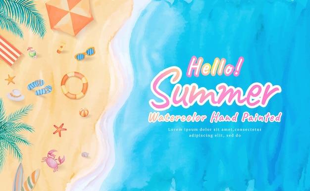 Vista dall'alto sulla spiaggia onde dell'oceano mare con tavola da surf, ombrellone, palla, anello di nuoto, occhiali da sole, cappello, sandalo, stelle marine durante le vacanze estive viaggio di turismo tropicale. acquerello dipinto a mano.