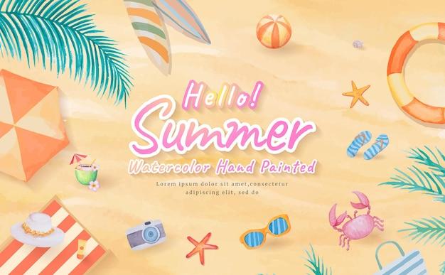 Vista dall'alto sulla spiaggia di sabbia con tavola da surf, ombrellone, palla, anello da bagno, occhiali da sole, cappello, sandalo, stelle marine durante le vacanze estive in viaggio di turismo tropicale. acquerello dipinto a mano.