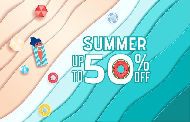 Onde di carta di mare blu vista dall'alto e design pubblicitario di vendita spiaggia.