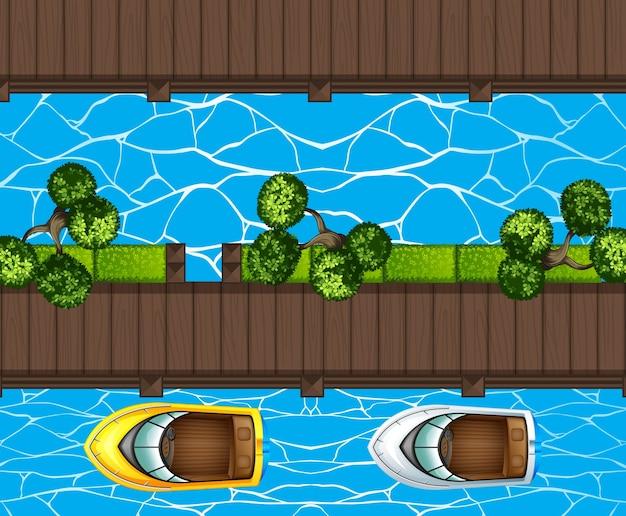 Vista dall'alto delle barche di parcheggio al molo