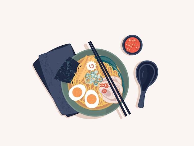 Vista superiore della ciotola di tagliatelle di ramen giapponesi con manzo