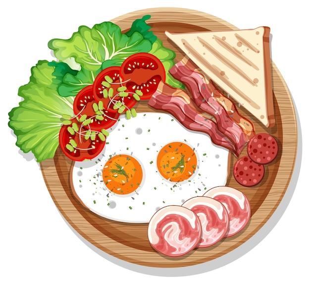 Vista dall'alto della colazione in un piatto in stile cartone animato isolato