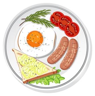 Vista dall'alto della colazione impostata su un piatto isolato