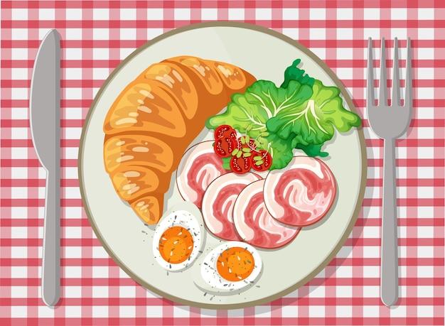 Vista dall'alto della colazione in un piatto