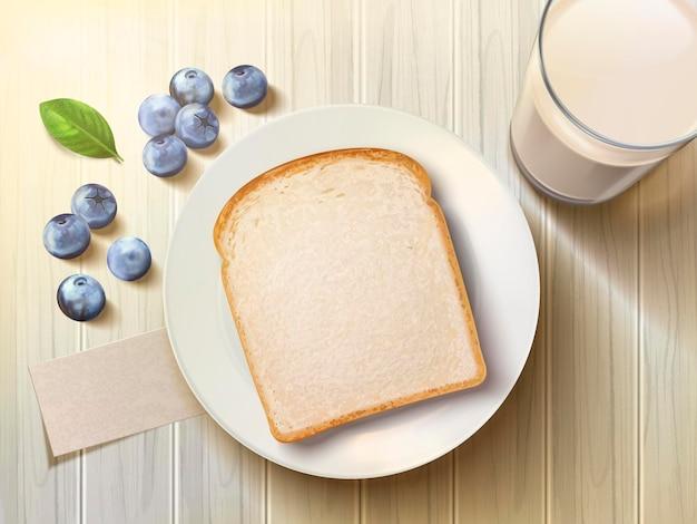 Vista dall'alto del set per la colazione, pane tostato bianco con mirtilli e latte di cereali sul tavolo di legno