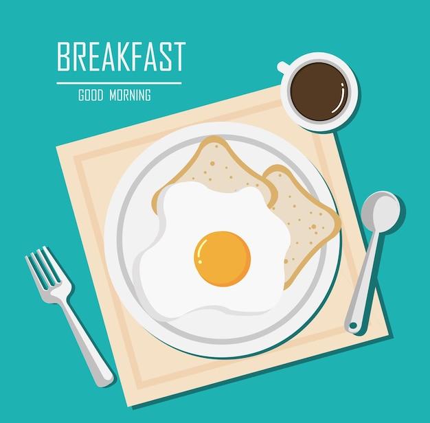 Vista dall'alto della colazione con una tazza di caffè, uova fritte e pane sul design piatto del tavolo