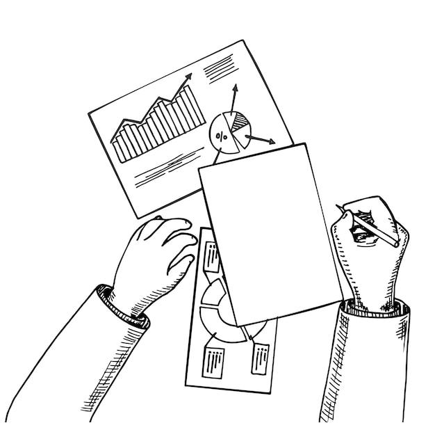 Vista dall'alto analista aziendale o revisore che lavora su documenti cartacei con dati statistici con fogli di calcolo