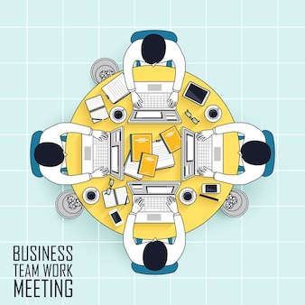 Vista dall'alto della riunione di lavoro di squadra aziendale in stile linea