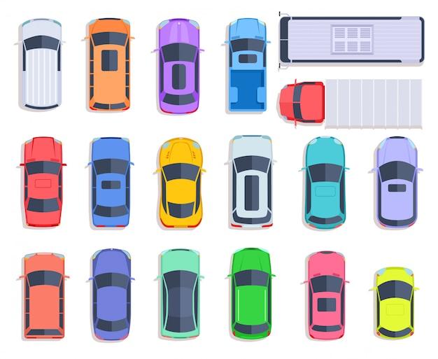 Auto con vista dall'alto. trasporto auto, camion e tetto dell'auto per il trasporto di veicoli.