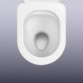 Vista dall'alto del sedile del water bianco pulito realistico. attrezzature sanitarie per bagni e sanitari per l'igiene individuale.