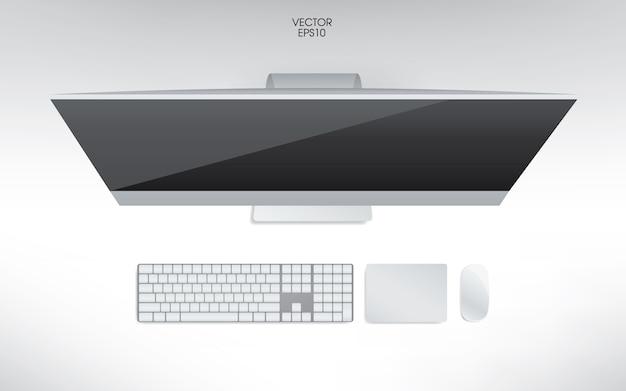 Vista dall'alto dell'illustrazione del computer