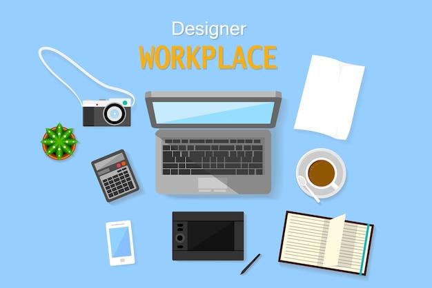 Vista dall'alto design workplace