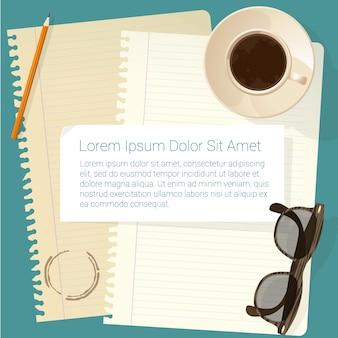 Vista dall'alto design piatto concetto di area di lavoro creativa per il web design.