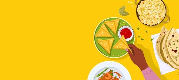Vista dall'alto dell'illustrazione di cibo indiano