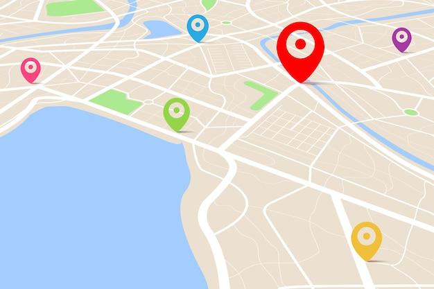 Vista dall'alto di una mappa con punto di posizione di destinazione