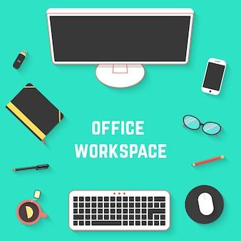 Vista dall'alto della scrivania dell'ufficio con il pc. concetto di routine, flusso di lavoro, stile di lavoro, scartoffie, desktop, sviluppo del progetto. isolato su sfondo verde. illustrazione vettoriale di design moderno di tendenza in stile piatto