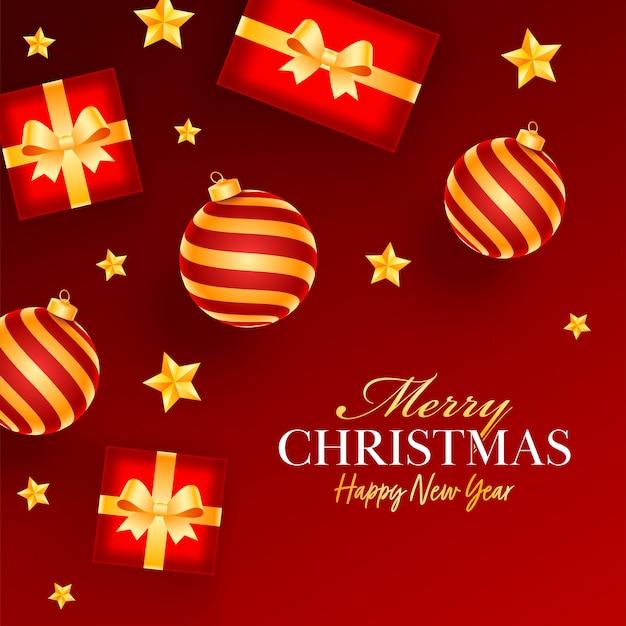 Vista dall'alto di palline realistiche con scatole regalo e stelle dorate decorate su sfondo rosso per la celebrazione di buon natale e felice anno nuovo.