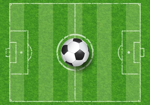 Pallone da calcio realistico vista dall'alto sul campo di calcio con texture erba