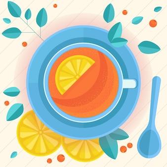 Vista dall'alto su una tazza bianca realistica riempita con illustrazione vettoriale di tè nero limone e menta
