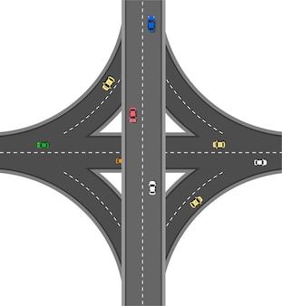 Strada vista dall'alto con vetture diverse. autostrada e svincolo autostradale. infrastruttura della città con elementi di trasporto.