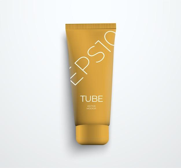 Vista dall'alto su modelli vettoriali di tubo sottile di plastica realistico per crema. modello per il design della confezione di presentazione.