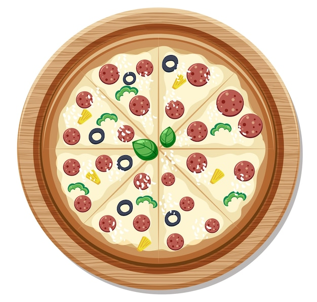 Vista dall'alto di un'intera deliziosa pizza su piatto di legno isolato su sfondo bianco