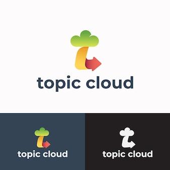 Argomento nuvola segno astratto simbolo o logo modello lettera t con icona freccia con tipografia moderna dy...