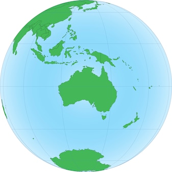 Mappa topografica dell'australia sul globo