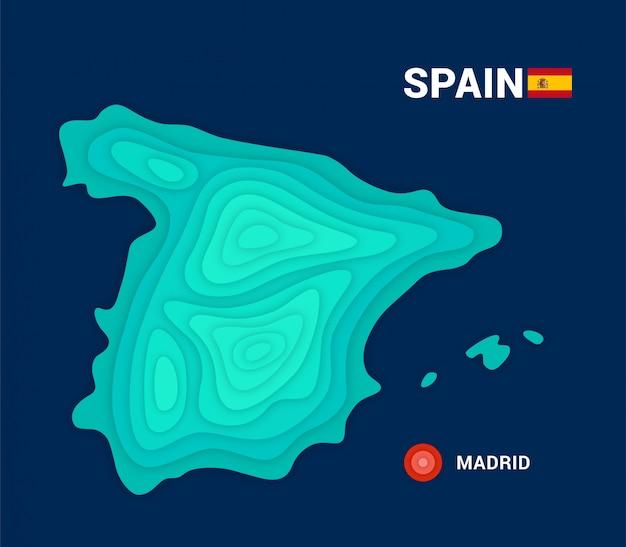 Carta topografica della spagna. concetto di cartografia 3d