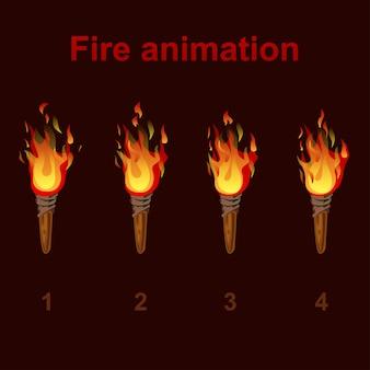 Torcia animazioni di fuoco sprite, fotogrammi video di fiamma